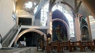 Une église de la ville de Homs ravagée par les combats.