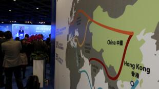 """Dự án khổng lồ """"Một vành đai, Một con đường"""" của Trung Quốc được giới thiệu tại Diễn đàn Tài chính Châu Á ở Hồng Kông ngày 08/01/2016."""