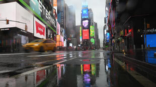 A nearly empty Times Square is seen on March 23, 2020 in New York City