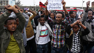 Oromo protesters gather in Merkel Square in Addis Ababa, 6 August 2016.