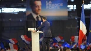 Nicolas Sarkozy delivers a speech during a political rally in Villepinte, Paris suburb, 11 March, 2012