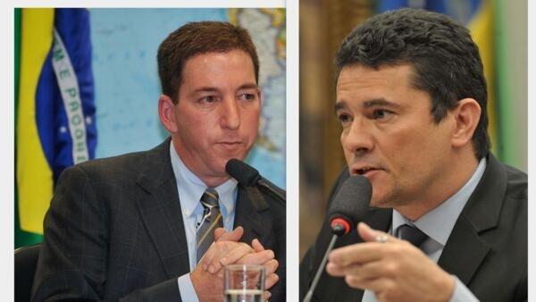 O jornalista Glenn Greenwald e o ministro da Justiça e Segurança Pública, Sergio Moro.