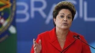 A presidenta Dilma Rousseff no Palácio do Planalto em 31 de julho de 2014.