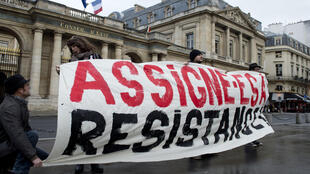 A protest against house arrests outside of the French Council of State in Paris in December 2015