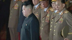 Sharing power? Kim Jong-Un with military leaders at his father's lying-in-state