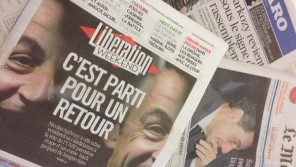 A foto do ex-presidente Nicolas Sarkozy estampa a primeira página de todos os jornais deste sábado, 20 de setembro de 2014.