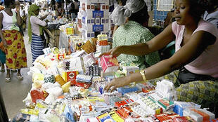 Fake drugs at a market in Abidjan, Cote d'Ivoire