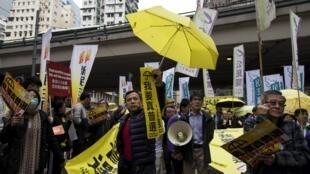 Militants pro-démocratie photographiés le 1er février 2015 à Hong Kong.