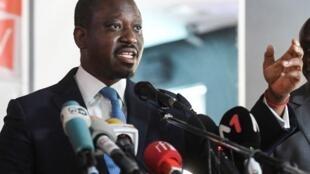 Guillaume Soro, lors d'une conférence de presse dans sa résidence à Abidjan, le 15 février 2019.