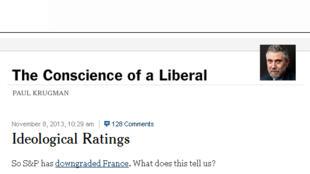 Dans une tribune publiée vendredi 8 novembre 2013, sur son blog, intitulée «Notations idéologiques», le prix Nobel d'économie Paul Krugman s'en est violemment pris à l'agence de notation Standard & Poors, qui venait de dégrader la France