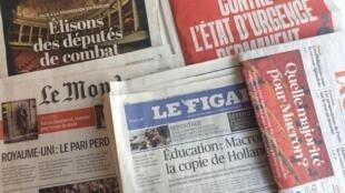 Primeiras páginas dos jornais franceses de 09 de junho de 2017