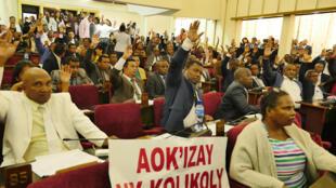 Sur ces pancartes brandies par les députés de l'opposition malgache, le 3 avril, on peut lire: «Corruption, ça suffit!».