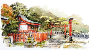 Le sanctuaire d'Otoyo-Jinja de Kyoto sous le pinceau de Reno Marca.