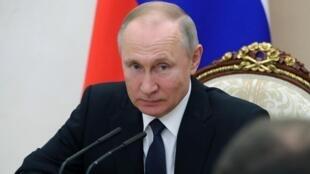 El presidente ruso Vladimir Putin en Moscú, el 20 de marzo de 2020