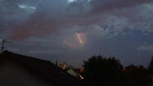 Lightning over Paris on Sunday night