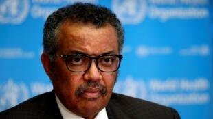 Le directeur général de l'OMS, Tedros Adhanom Ghebreyesus, le 16 mars 2020 à Genève.