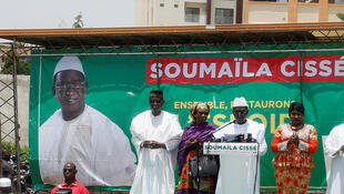Conférence de presse de Soumaïla Cissé, à Bamako, le 3 août.