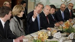 U.S. Secretary of State John Kerry meets with members of the Arab League at Blair House in Washington, 29 April, 2013