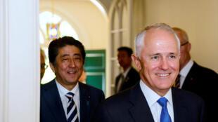 澳大利亞總理特恩布爾與日本首相安倍2014年1月14日悉尼
