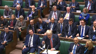 Prime Minister Boris Johnson speaking in the House of Commons, 29 October 2019, ahead of the vote.