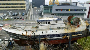 The wreck of the trawler Bugaled Breizh, which sank off the coast of Britain on 15 January 2004.