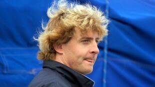 """Laurent Bourgnon in the harbour at Saint-Malo, France, prior to the start of the transatlantic solo race """"Route du Rhum"""" , 6 November 1998."""