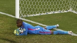 Nigeria's goalkeeper Vincent Enyeama makes a save in the match against Bosnia