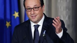 French President François Hollande, Quebec in Canada, 3 November 2014.