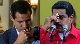 O presidente venezuelano Nicolás Maduro (à dir.) e seu opositor Juan Guaidó (esq.) terão mediação da Noruega.