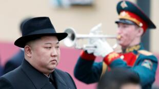 Lãnh đạo Bắc Triều Tiên Kim Jong Un được đón tiếp tại nhà ga Vladivostok, miền Viễn Đông Nga, ngày 24/04/2019.