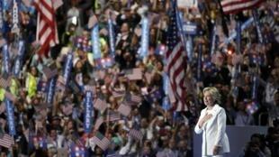 A candidata democrata, Hillary Clinton, no último dia da convenção do partido na Filadélfia, nesta quinta-feira (28).