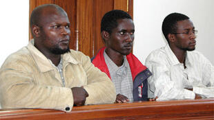 Bombing suspects Idris Magondu, Hussein Hassan and Mohammed Adan Abdow in the dock at the Nakawa court in Kampala.