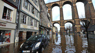 Flooding in the Brittany town of Morlaix on Tuesday
