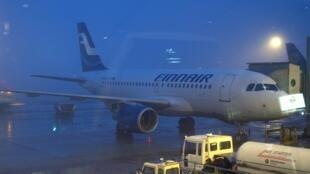 Finnair airplane at Helsinki-Vantaa Airport