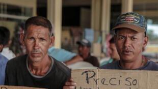 Refugiados venezuelanos em Boa Vista, Roraima, procuram trabalho.