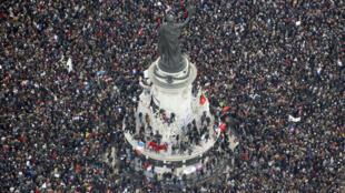 La place de la République, lors de la manifestation du 11 janvier 2015.