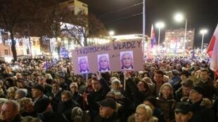Biểu tình ở thành phố Szczecin, Ba Lan, chống cải cách tư pháp. Ảnh 18/12/2019.