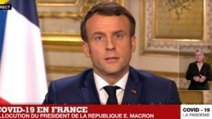 French President Emmanuel Macron addresses the nation on the novel coronavirus pandemic in Paris, 12 March 2020.