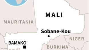 Mapa localisando a aldeia de Sobane-Kou no centro do Mali, onde na madrugada de 10/06 cerca de 100 pessoas da etnia dogon foram assassinadas