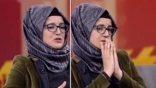 Captura de imagen de la primera aparición de Hatice Cengiz, en el canal turco Habertürk.