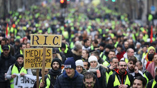 Manifestación de los chalecos amarillos en Grands Boulevards de París, 12 de enero de 2019.es Grands boulevards.