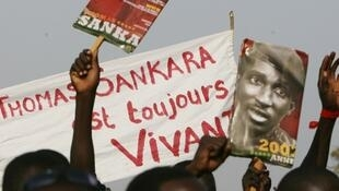 A demonstration commemorates Sankara on the 20th anniversary if his murder