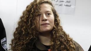 La Palestinienne Ahed Tamimi devant un tribunal militaire à la prison d'Offer en Cisjordanie, le 1e rjanvier 2018.