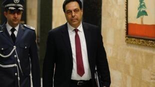 Le premier ministre libanais Hassan Diab au Palais présidentiel, le 22 janvier 2020.