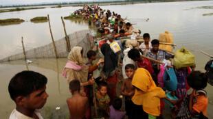 Người tị nạn Rohingya vượt qua sông Naf, phân ranh Miến Điện và Bangladesh. Ảnh ngày 07/09/2017