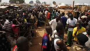 Camp de déplacés à l'aéroport international Mpoko de Bangui. 12 février 2014.
