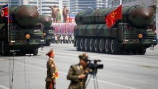 Tên lửa đạn đạo xuyên lục địa (ICBM) của Bắc Triều Tiên trong cuộc diễu binh tại Bình Nhưỡng, ngày 15/04/2017