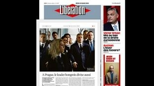 A imprensa francesa desta quinta-feira, 21 de março, analisa a decisão do Partido Popular Europeu. Foto do jornal Libération com artigo sobre Viktor Orban.