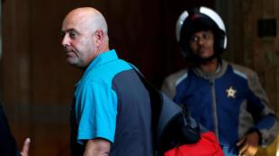 Australian cricket coach Darren Lehmann arrives at a hotel in Sandton, South Africa March 27, 2018.