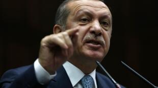Премьер Турции Тайип Реджеп Эрдоган выступает перед парламентом в Анкаре 25/02/2014